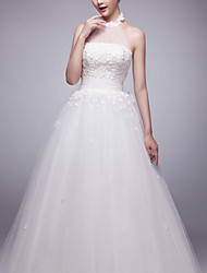Ball Gown Sweep/Brush Train Wedding Dress -High Neck Tulle