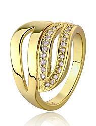 18 K Gold Plated Environmental Round Band Diamond  Ring