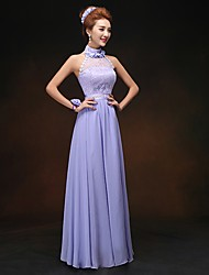 Floor-length Chiffon Bridesmaid Dress - Lavender Sheath/Column High Neck