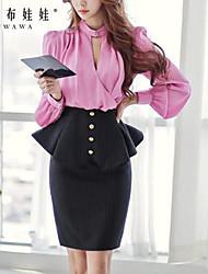 Elegante OL balze su strato Pink Doll Donna Ruffle Skirt