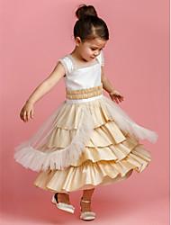Ball Gown Tea-length Flower Girl Dress - Taffeta/Tulle Sleeveless
