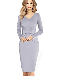 Women's Vintage Blue/Gray/Purple V Neck Midi Dress, Cotton Blends Knee-length Long Sleeve
