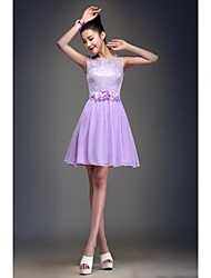 all Gown Jewel Neck Knee Length Chiffon Bridesmaid Dress with Lace