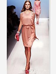 SHA SHI MENG NA Women's Beads Sleeveless Chiffon Dress