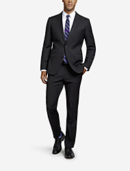 Black Solid Tailored Fit Suit In Cashmere&Wool Two-Piece