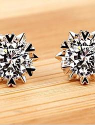 925 Sterling Silber Ohrringe funkelnden Schneeflocke