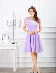Ankle-length Chiffon Bridesmaid Dress - Blushing Pink / Lavender Ball Gown Sweetheart