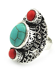 Vintage Female Green and Red Turquoise Adjustable Ring (Green)(1pcs)