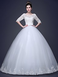 Ball Gown Wedding Dress - Elegant & Luxurious See-Through Wedding Dresses Floor-length Sweetheart with