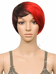 Fashion Party Wig Black&Red Short Straight Synthetic Hair Wigs