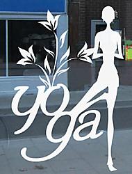 """36 * 56cm (14 """"* w 22"""" l) autocollant de la fenêtre de salle de gym - la vie de yoga"""