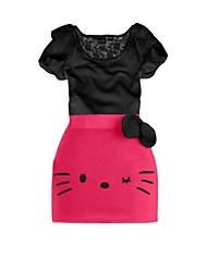 Girl's Summer/Spring/Fall Micro-elastic Medium Short Sleeve Clothing Sets (Cotton)