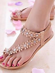Chaussures Femme - Décontracté - Blanc / Beige - Talon Plat - Tongs - Sandales - Cuir