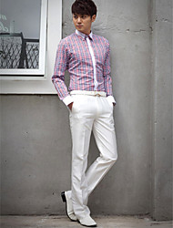 Shirts Classic (Semi-Spread) Long Sleeve Cotton/Polyester Tattersall Multicolor