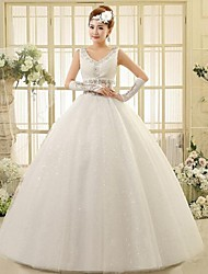 Ball Gown Ankle-length Wedding Dress -Straps Lace