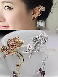 European Diamond Butterfly Alloy Ear Cuffs(Gold,Silver)(1Pc)