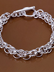 Cool Tameless  Men's Full Circles  Silver Plated Brass Chain & Link  Bracelets(Silver)(1pc)