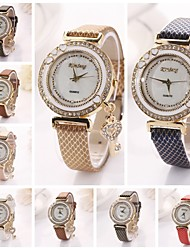 Women's  Love the Key Diamante   Dial Gridding Leather Quartz Wristwatches  (Assorted Color)C&d161 Cool Watches Unique Watches