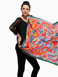 Zizhen pañuelo de seda estampado floral de las mujeres ocasionales