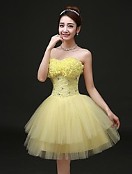 A-line Strapless Short/Mini/Knee-length Satin/Tulle Dress
