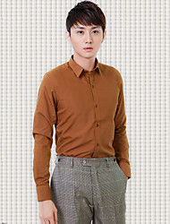 Shirts Classic (Semi-Spread) Long Sleeve Cotton/Polyester Solid Coffee