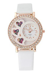 Women's Fashion Heart-shaped Hourglass Design Circular Dial  PU Leather Strap Quartz  Wrist Watches(Assorted Colors)