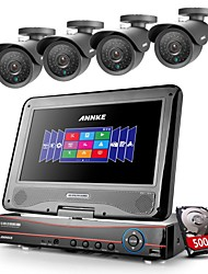 ANNKE® 8CH AHD DVR/HVR/NVR 4 800TVL Analogy 100ft IR CUT Night Vision Security Camera System(500GB HDD)