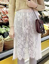 perspectiva lace ocasional elásticos saias acima do joelho finas das mulheres