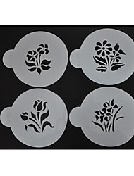 stencils queque do bolinho e café stencils, 4pcs / set