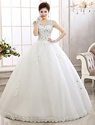 Ball Gown Ankle-length Wedding Dress -V-neck Lace