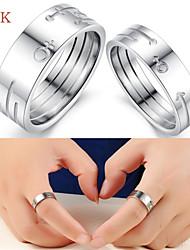 OPK®2PC Fashion AAA Zirconium Drill Symbol of Eternal Love Stainless Steel Couple Rings