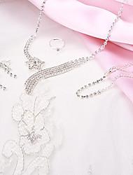 borlas moda curvatura strass prata conjunto de jóias de cobre (1 jogo)