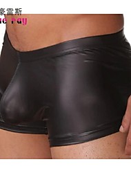Men's Low Waist Tight Nylon/Patent Leather Boxers