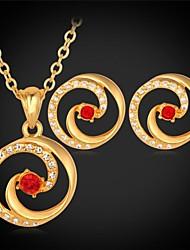 u7® espiral brincos de pingente de colar de ouro de verdade 18k banhado strass jóias fashion set para as mulheres de alta qualidade