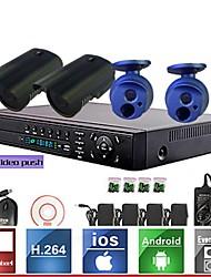 4 canaux enregistreur système de kit h.264 réseau vidéo NVR (4pcs Mini 1.0MP ONVIF de caméra étanche IP), p2p