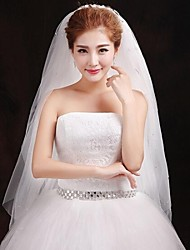 Wedding Veil Three-tier Fingertip Veils Lace Applique Edge