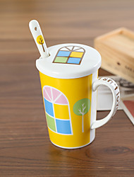 Creative Ceramic Mug with Cover and Spoon