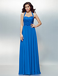 Formal Evening Dress - Royal Blue A-line Halter Floor-length Chiffon/Lace