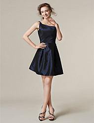 Lanting Short/Mini Taffeta Bridesmaid Dress - Dark Navy Plus Sizes / Petite A-line / Princess One Shoulder
