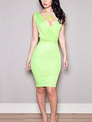 Women's Sexy Inelastic Sleeveless Knee-Length Dress (Cotton Blends)