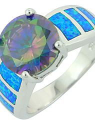 Women's Fashion Bule Fire Opal Silver Plated Ring with Muticolor Stone