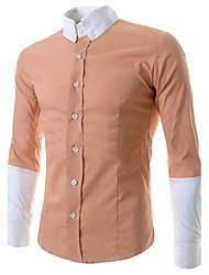 Men's Long Sleeve Shirt , Cotton Blend/Silk Casual Striped/Pure