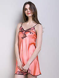Watermelon Red Women Suspender Silk Dress Lady's Pajamas with Sex Appeal of 100% Heavy Silk Fabric