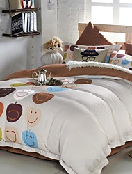 Multi Color Smile Solid  Cotton Queen Duvet  Sheet Sets