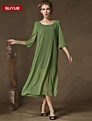 Suyue® High Quality Women's  Loose Plus Size Slim Chiffon Three-Quarter Sleeves Dress