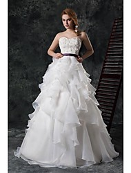 Ball Gown Cathedral Train Wedding Dress -Strapless Organza
