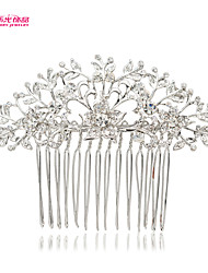 Neoglory Jewelry with Elegant Leaf Flower Bud and Clear Zircon Wedding Hair Comb for Bridal/Lady