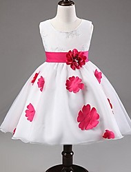 Ball Gown Princess Knee-length Flower Girl Dress - Satin Tulle Jewel with Bow(s) Flower(s) Pattern / Print Sash / Ribbon Pleats
