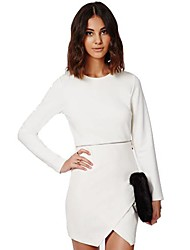 Women's 2015 New Long Sleeve Slim Mini Dress OL White Elegant Work Dresses