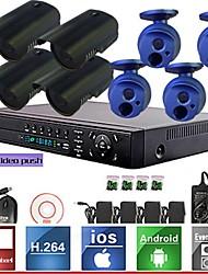 8ch enregistreur système de kit h.264 réseau vidéo NVR (4pcs Mini 1.0MP ONVIF de caméra étanche IP), p2p